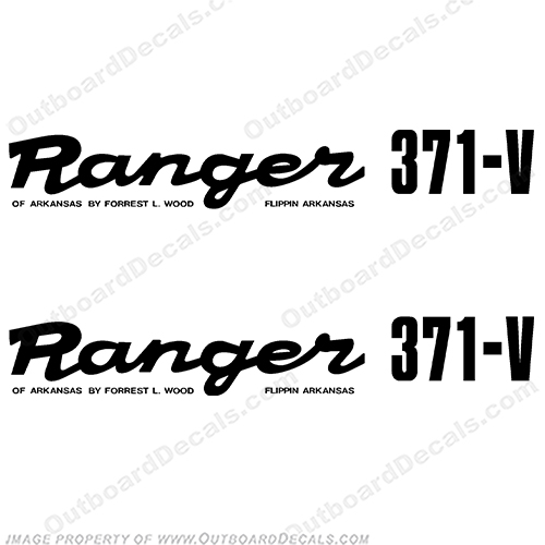 Ranger 371-V Early 1980s Decals (Set of 2) - Any Color!  ranger 371v, 371, 371 v, 1980, 80, 81, 82, 83, 84, 85, 86, 87, 88, 89, 371, 80s, 80s