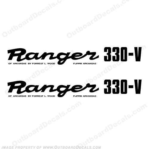Ranger 330-V Early 1980s Decals (Set of 2) - Any Color! ranger 330v, 330 v, 1980, 80, 81, 82, 83, 84, 85, 86, 87, 88, 89, boat, decal, sticker