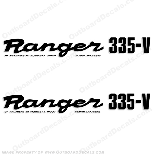 Ranger 335-V Early 1980s Decals (Set of 2) - Any Color! ranger 335v, 335 v, 1980, 80, 81, 82, 83, 84, 85, 86, 87, 88, 89, boat, decal, sticker