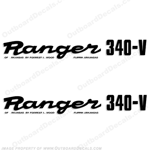 Ranger 340-V Early 1980s Decals (Set of 2) - Any Color! ranger 340v, 340 v, 1980, 80, 81, 82, 83, 84, 85, 86, 87, 88, 89, boat, decal, sticker, boats, 80s