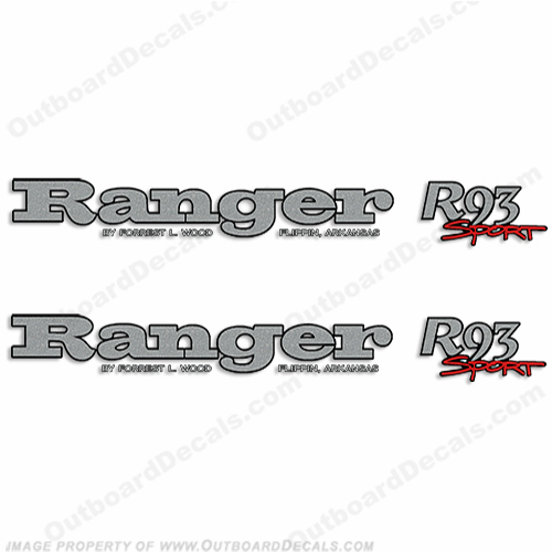 Ranger R93 Sport Decals (Set of 2) ranger, r, 93, 83, 91, boat, logo, marking, tag, model, sport, decals,decal, sticker, stickers, kit, set