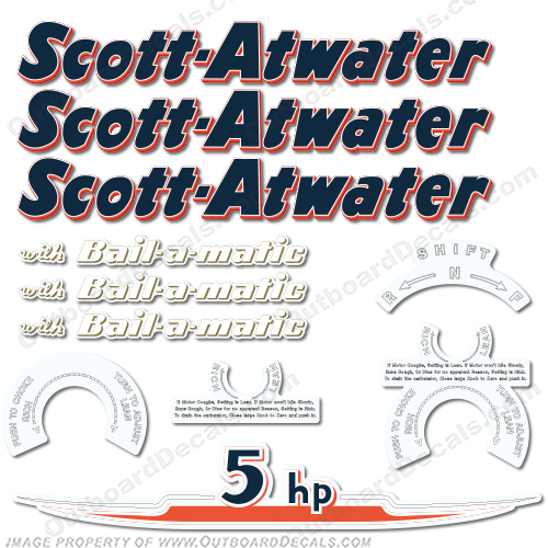 Scott Atwater 5 hp Decals - 1955 5, 5hp, 5-hp, horse, power, horse power