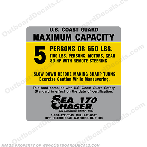 Sea Chaser 170 5 Person Boat Capacity Plate Decal