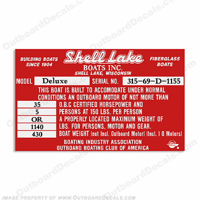 Shell Lake Capacity Decal - 5 Person