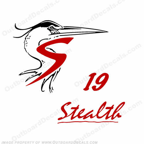 Shoalwater 19 Stealth Boat Decals - Red/Black