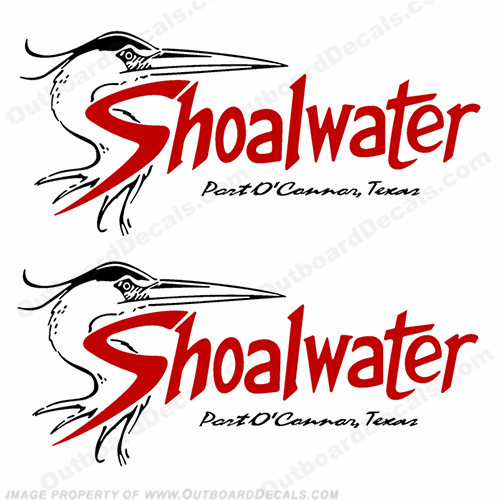 Shoalwater Boat Logo Decals (Set of 2) - Red/Black