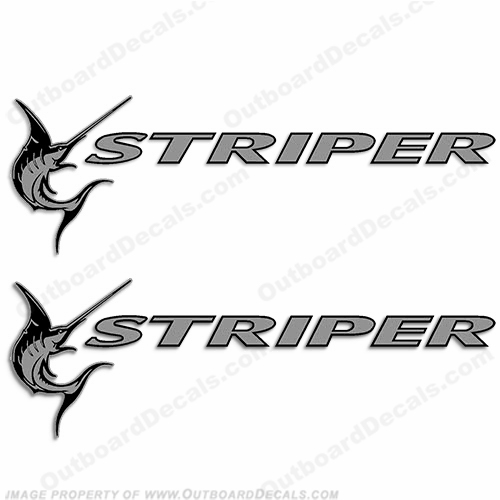 Seaswirl Striper Boat Logo Decals - Silver (Set of 2)