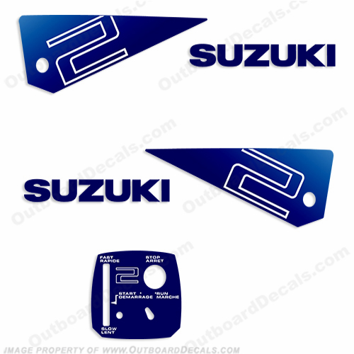 Suzuki 2hp Decal Kit - 1985-1987 (Blue)