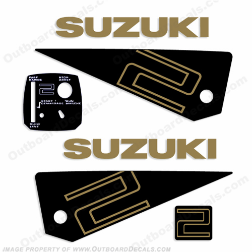 Suzuki 2hp Decal Kit - 1985-1987 (Gold)