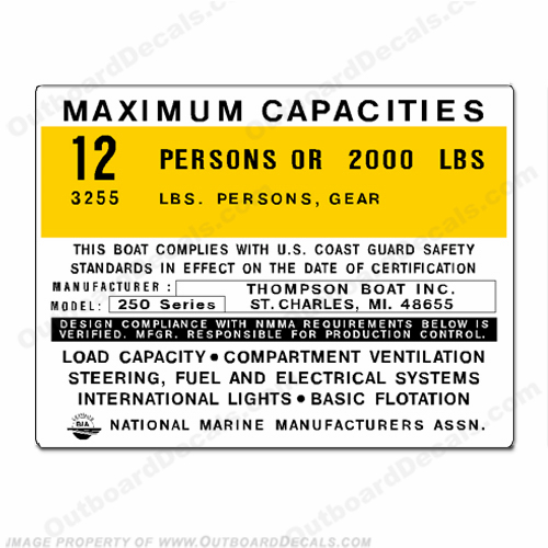 Thompson 250 Series Boat Capacity Decal - 12 person