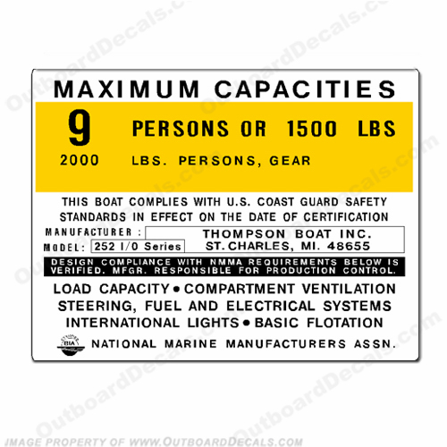 Thompson 252 I/O Series Boat Capacity Decal - 9 person