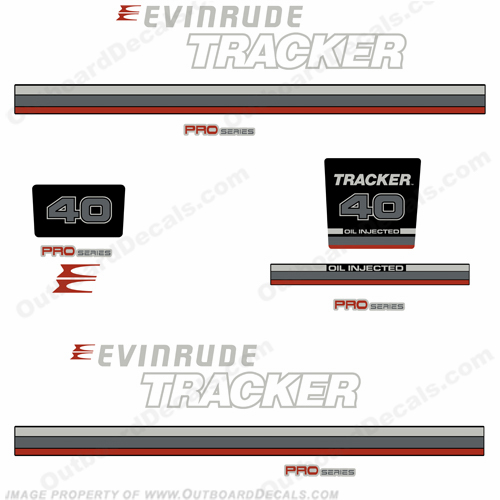 Evinrude 1981 Tracker 40hp Decal Kit - Red