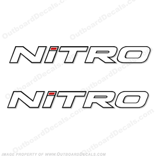 Tracker Marine Nitro Boat Decals  - White w/Black Outline