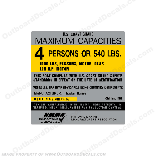 Tracker Marine Nitro 700 lx/dc Capacity Decal - 4 Person capacity, plate, sticker, decal, 170dc