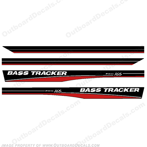 Bass Tracker 16 5' Pro 165 Boat Decals - Red