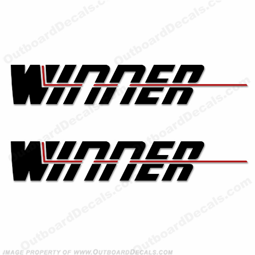 Winner Boat Logo Decals - Style 1 (Set of 2)