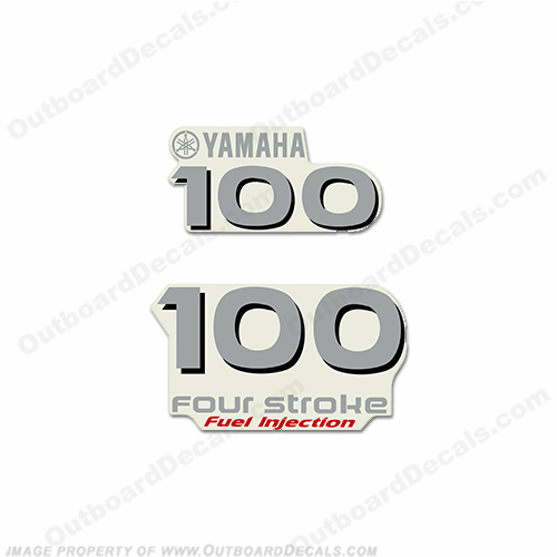 "Yamaha ""100"" hp Front and Rear Decals"