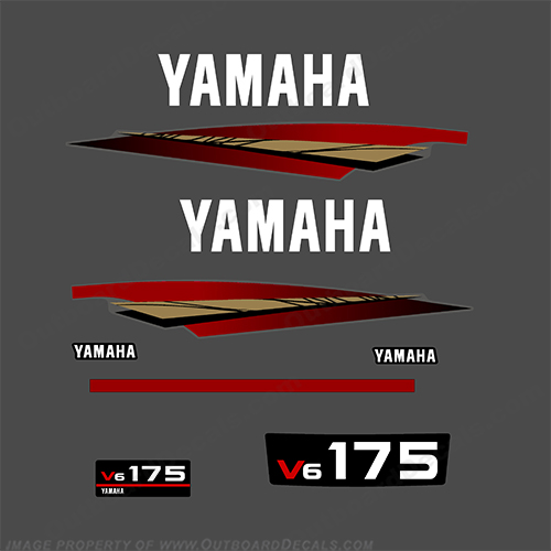 Yamaha 175hp 2-Stroke Decal Kit - 1998 - 2001 (Gold) 175, two stroke, 2 stroke, 98, 99, 2000