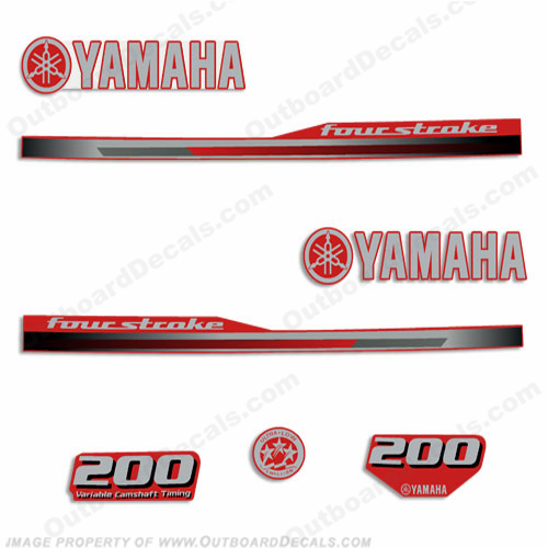 Yamaha 2013 Style 200hp Decals - Reverse Red