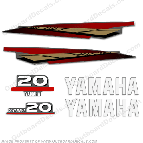 Yamaha 20hp 2-Stroke Decals 1998-2004 (Gold)