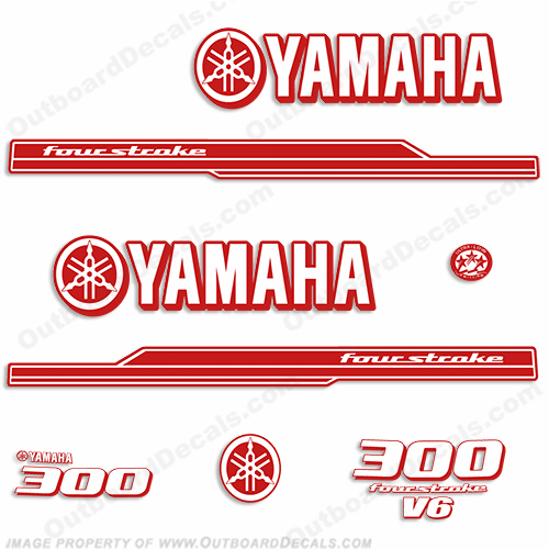 Yamaha 2010 Style 300hp Decals - Any Color (Reverse)
