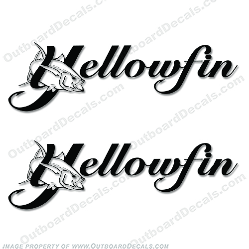 Yellowfin Boat Logo Decal (set of 2) - Any Color! edge, water, color, yellow, fin